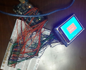 After arduino's output is reduced to 3.3 volts by using resistors.